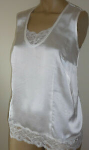 Ivory-Satin-Vest-Top-Lace-Trim-Sequins-Sleeveless-Size-12-14-18-20-22-24-26-New