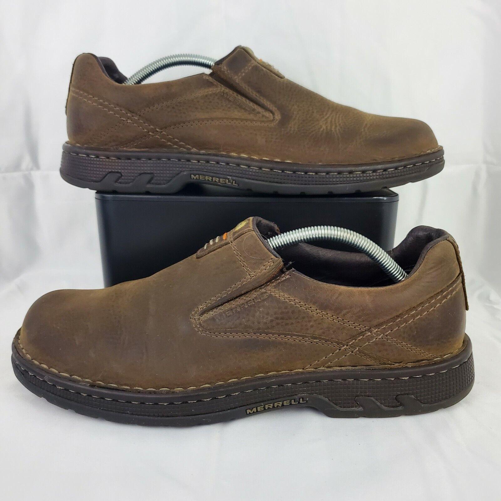 Merrell Mens World Legend Dark Earth Loafer Size 11 Brown Leather Shoes J45197