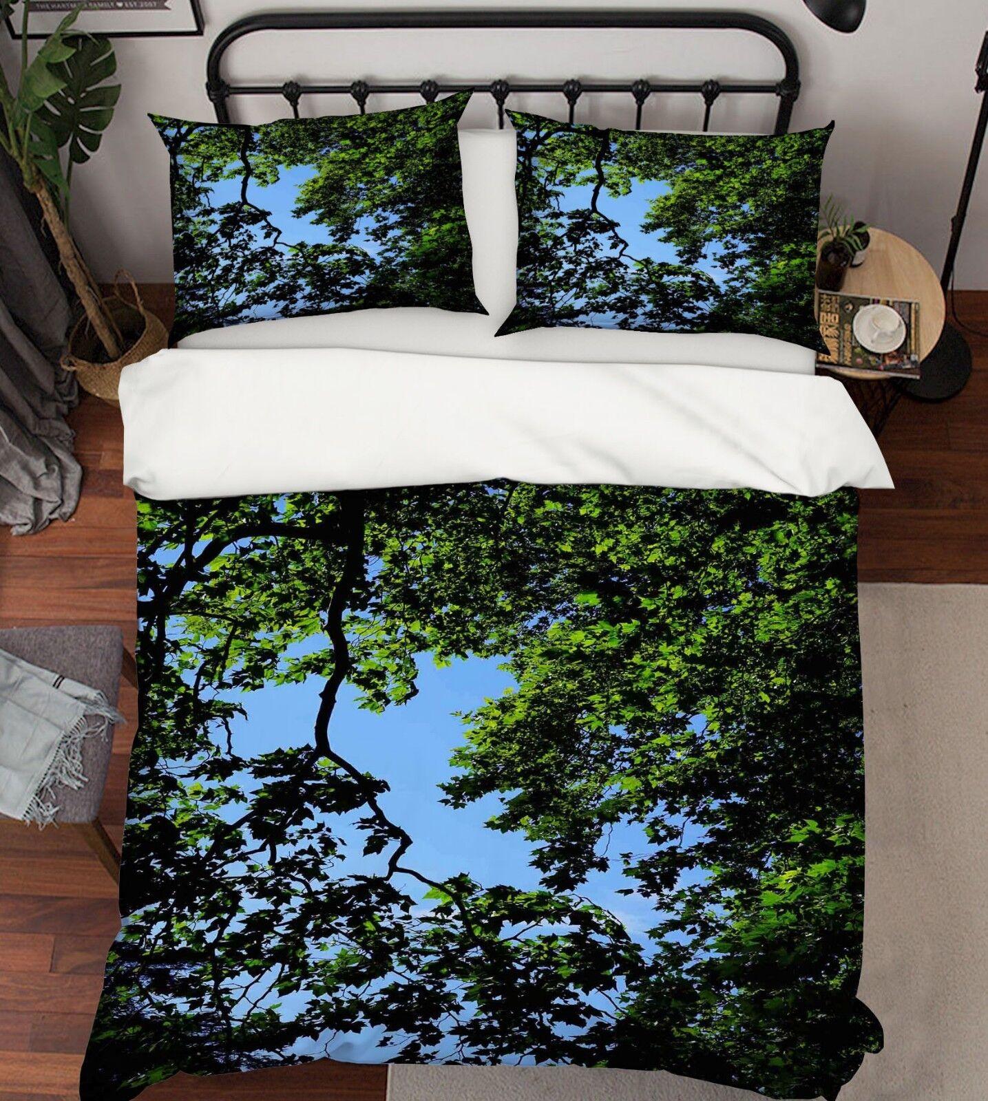 3D Bäume Himmel 124 Bett Kissenbezüge steppen Duvet Decken Set Single Königin DE