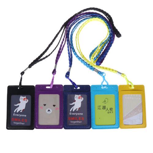 1 Visitenkartenhalter Brieftasche PU Leder ID Kartenhalter Umhängeband Lany Kq