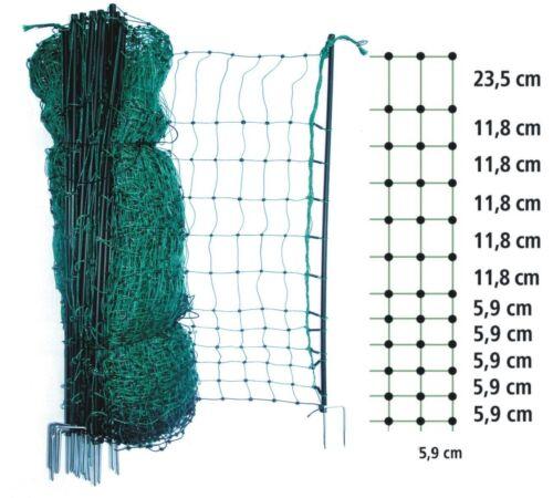 grüner Geflügel-Zaun+14 Pfähle Hühner-Netz 50 m/ 112 cm Gartenzaun Hunde Katzen