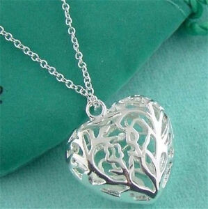 Free-P-amp-P-Silver-Ladies-Necklace-Jewelry-Soild-Silver-Chain-S925-Heart-Pendant