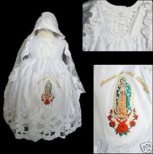 New Baby Girl Toddler Baptism Christening Formal Dress Gold Guadalupe 0M-30M