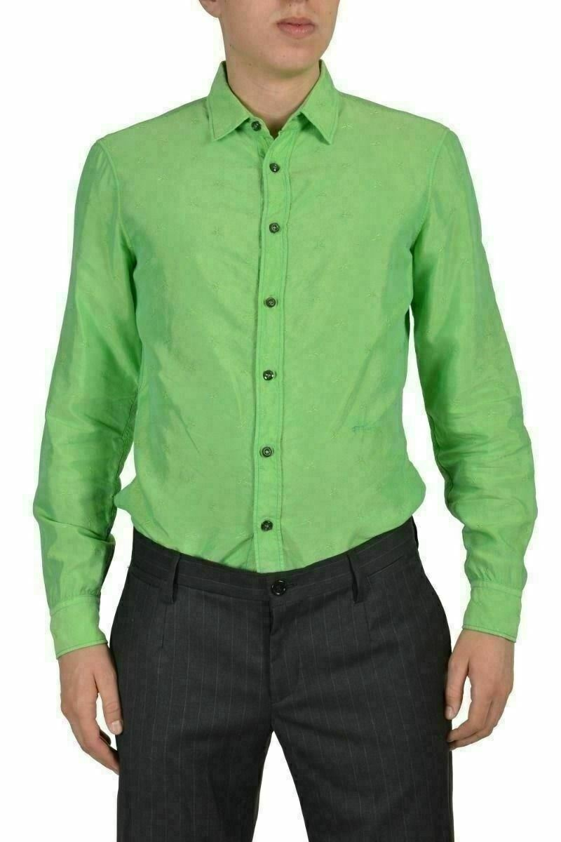 Just Cavalli Uomo verde Camicia Casuale Manica Lunga Taglia USA S It