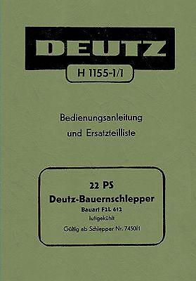 Bedienungsanleitung Und Ersatzteilliste Deutz Schlepper Traktor F2l612 /54 Preisnachlass