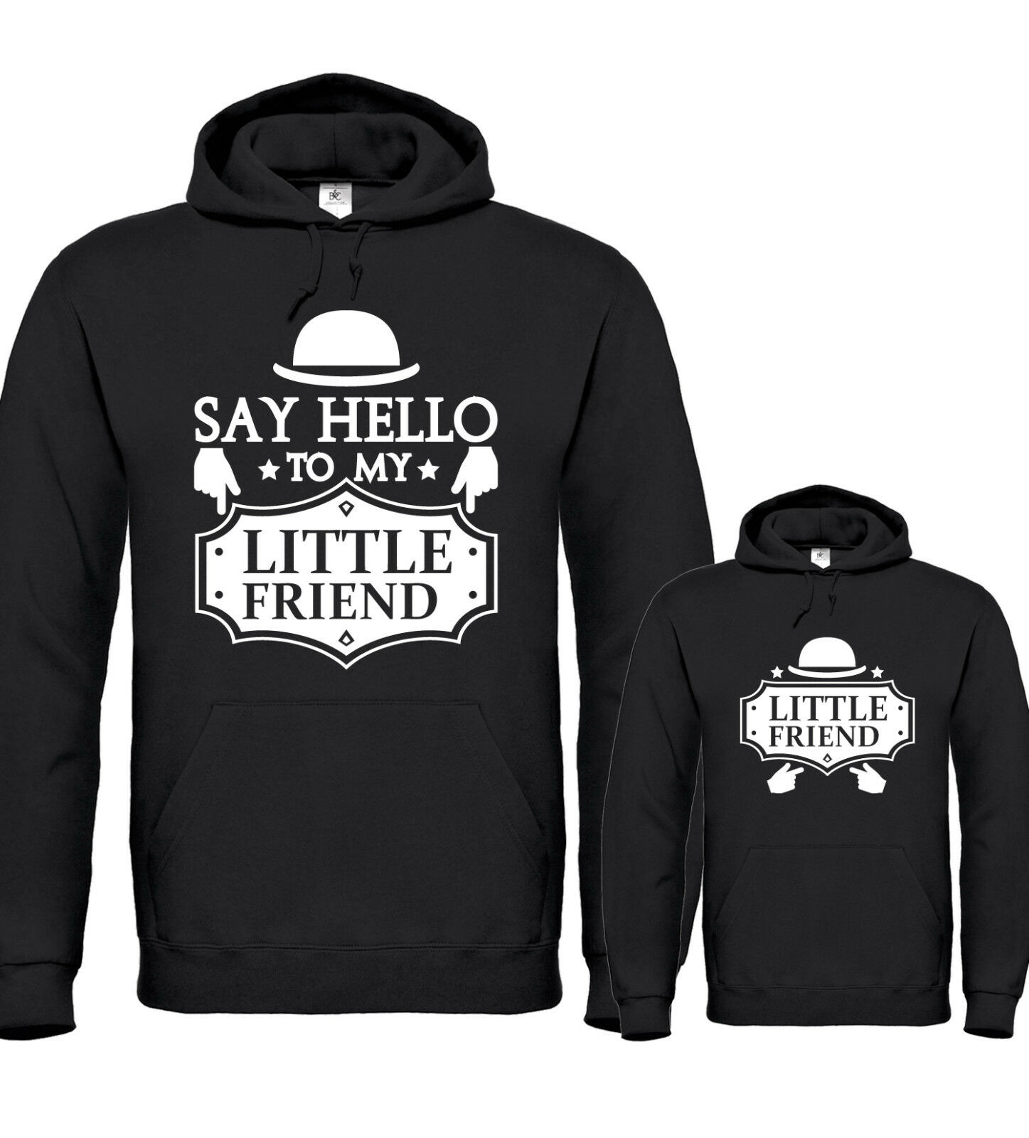 SAY HELLO TO MY LITTLE FRIEND - Vater / Sohn Partner Hoodies - Taufe Papa Geburt