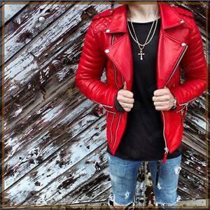 de cordero piel J01 auténtico Chaqueta de hombre para Slim de cuero Motocicleta roja Fit Biker Rwwq80ga