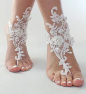 232ebd4b05f5 Image is loading Wedding-Foot-Chain-Ivory-Barefoot-Sandals-Beach-Anklet-