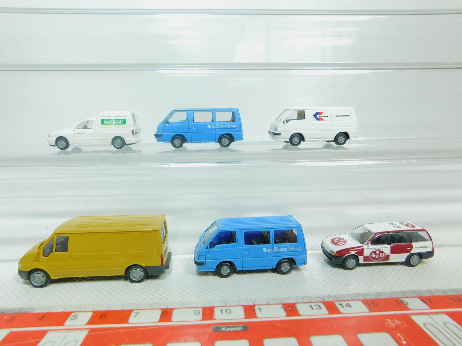 Bn163-0, 5  6x Rietze h0 1 87 turismos turismos turismos etc  Opel AVD + VW Europcar + mitsubishi + Ford b09319
