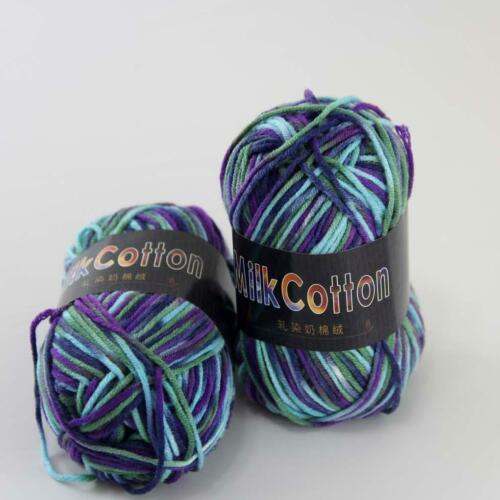 C 2ballx50g Multicolor Cotton Baby Yarn Hand-dyed Wool Socks Scarf Knitting 22
