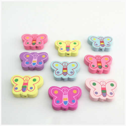 30PCS 25MM SPRING COLOURS BUTTERFLY SHAPED WOODEN BEADS FOR JEWELLERY MAKING