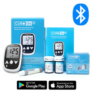 Blood-Glucose-Test-Kit-Curo-G6s-Home-Self-Monitor-Glucose-Meter-50-Strips