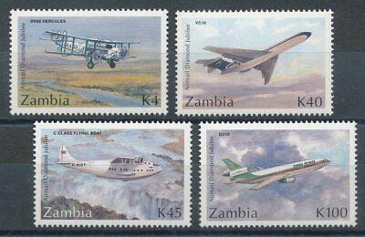 Zielsetzung 301382 Sambia Nr.607-610** Flugzeuge 100% Original Motive