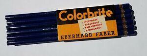 LOT-Vtg-Eberhard-Faber-Woodclinched-Colorbrite-MEDIUM-BLUE-Colored-Pencils