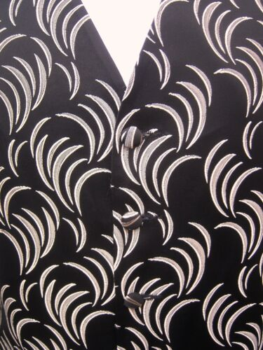 MENS BLACK SILVER SWIRL DRESS TUXEDO PROM CRUISE SUIT WAISTCOAT S M L XL