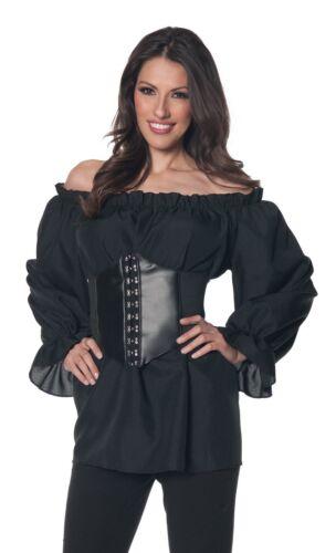 Renaissance Long Sleeve Black Blouse Shirt Gypsy Pirate Peasant Adult Women Top