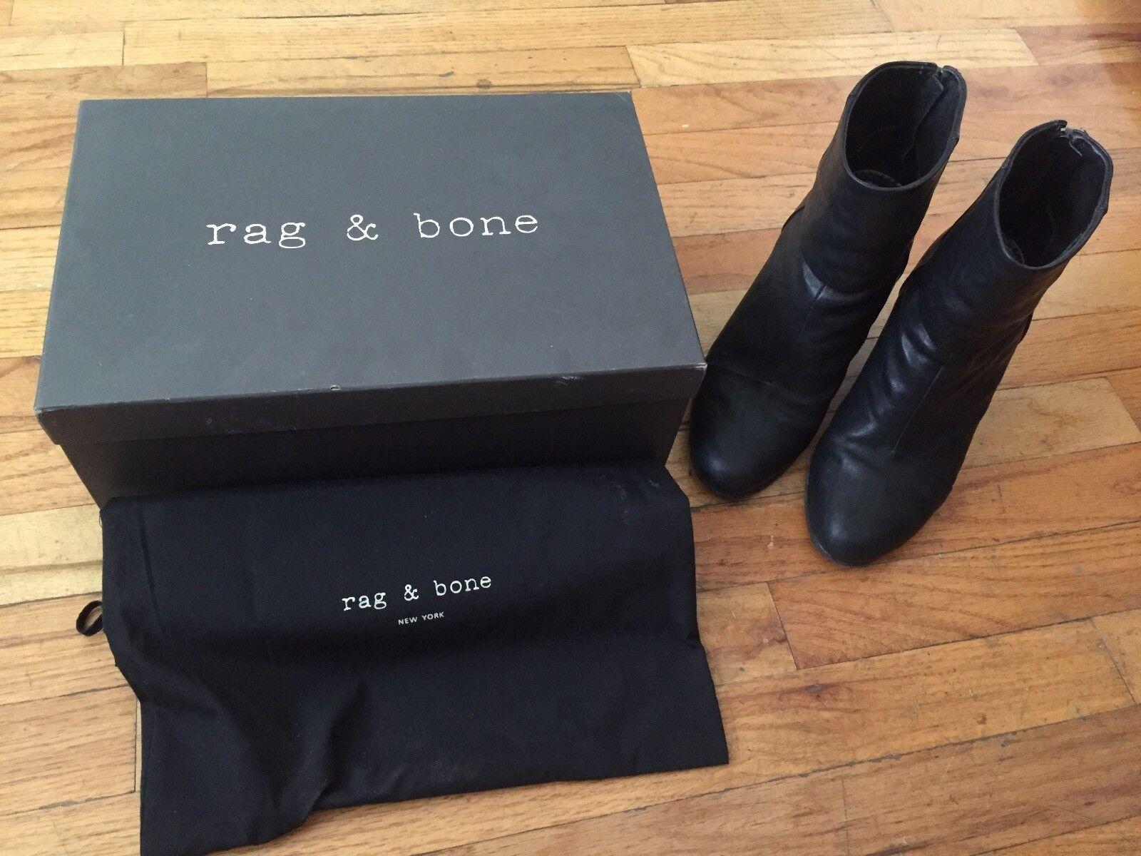 Rag & Bone Bone Bone Black Leather Newbury Boots Size US 8 869a96