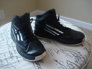 Image is loading Adidas-boys-Black-White-Adizero-Basketball-Shoes-779001-
