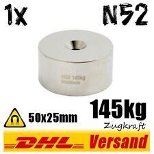 Neodym Magnet Scheibe 50x25mm 5cm 140kg stark N52 Lochmagnet Rundmagnet mit Loch