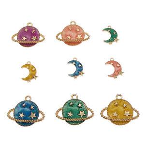 10pcs-Colori-Misti-in-Lega-Smalto-Oro-Planet-Moon-Stars-Ciondoli-Charms-Crafts