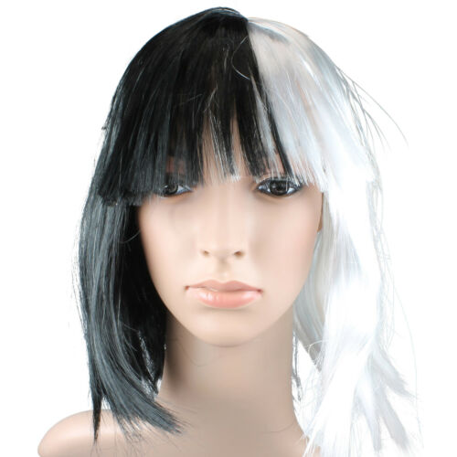 CRUELLA DE VILLE WIG BLACK WHITE HALLOWEEN WIG FANCY DRESS COSTUME STRAIGHT WIG