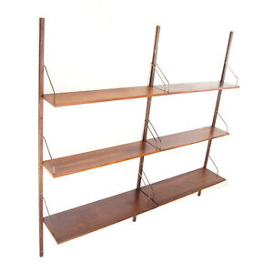 Retro Vintage Danish Rosewood Wall Book Shelves Wall System Bookcase 50s 60s 70s