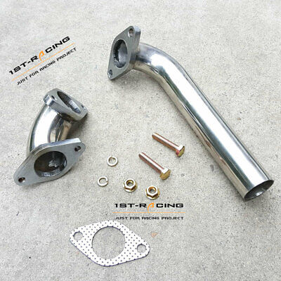 Universal Chrome 35mm 38mm S//S Turbo Wastegate Dump Tube Pipe w// Gasket /& Bolts
