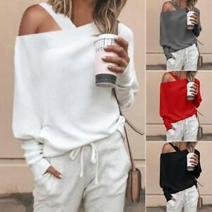 Womens-Long-Sleeve-Hoodies-Sweatshirt-Sweater-Jumper-Pullover-One-Shoulder-Tops