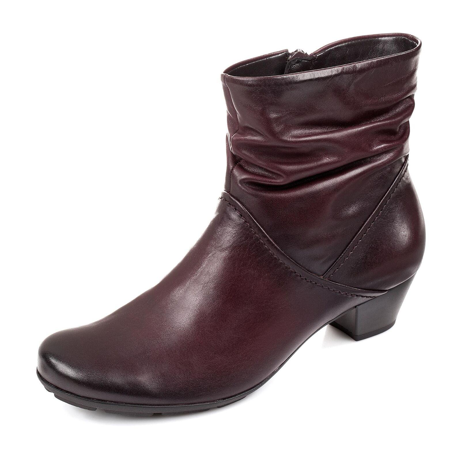 Gabor Damen Stiefelette Stiefel Bootie Glattleder Antik-Finish Blockabsatz Schuhe