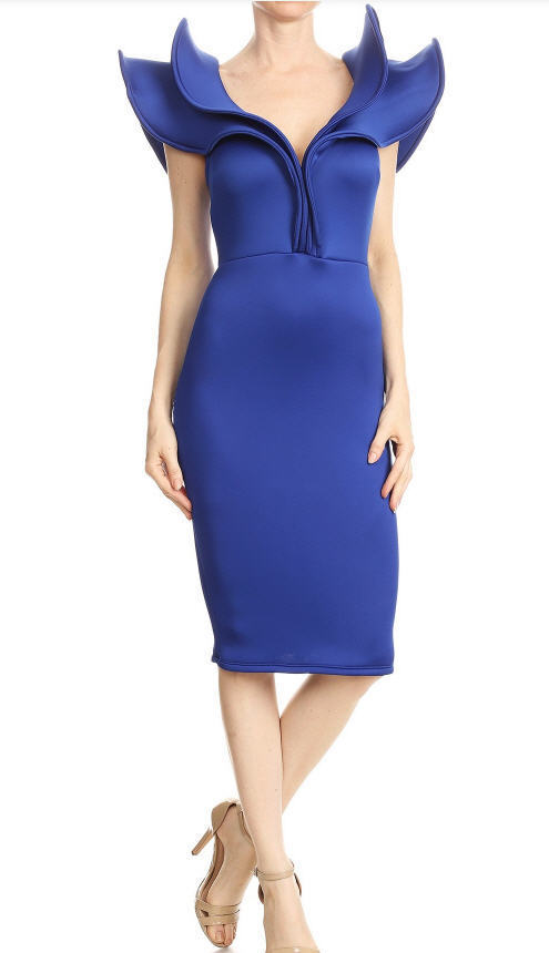 Ärmellos Rüsche Blau Midi Kleid   Midi Hot Abend Cocktail Elegant Party