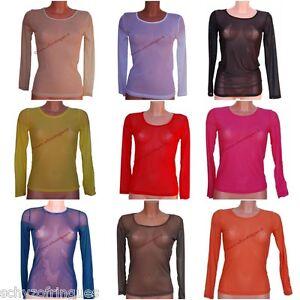 5cfbbe68a20d Détails sur Top T-shirt sexy manches résille voile transparent TU noir