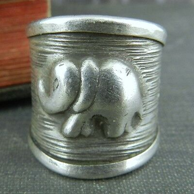 NF Thailand Elephant and Flower Wide Sterling Silver Band Ring