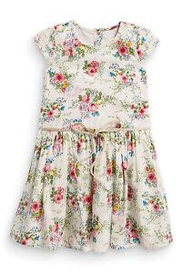 * * * вnwt Prochaine Formelle Parti * Ecru Floral Tea Dress * 100% Coton * 6-9 Mois-afficher Le Titre D'origine