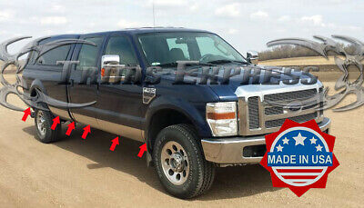 Made in USA Works with 1999-2010 Ford F250//350 Superduty Duelie Rocker Panel Trim Body Side Moulding 8.75 Wide 12PC