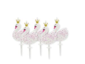 Élégant Cygne Blanc Rose Confettis Golden Crown Party Pick Gâteau Bougies pack de 5