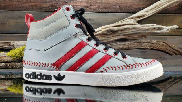 595b96293e537 Rare Adidas Baseball PA Mens Sz 13 US Gray Red Hi Top Fashion Sneakers  Q32537