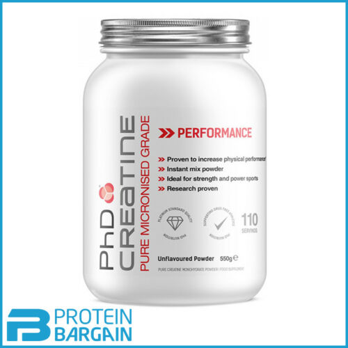PhD Nutrition Creatine Monohydrate x 550g Pure Micronised 100% Creatine Powder