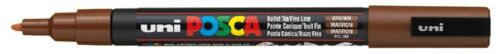Uni Posca PC3M Brown Paint Marker Pen Fabric Metal Glass 1.5mm Fine Bullet Nib
