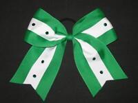 green & White Bling Cheer Bow Pony Tail 3 Inch Ribbon Girls Cheerleading