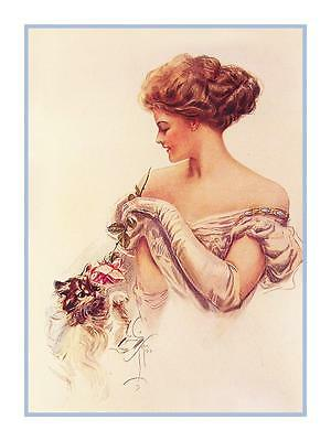 Harrison Fisher's Art Deco Cosmo Girl Odd Moments Counted Cross Stitch Pattern