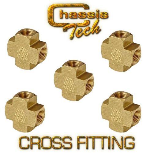 "Lot of 5 New Brass Pipe Female Cross 1//2/"" NPT Fuel Fittings"