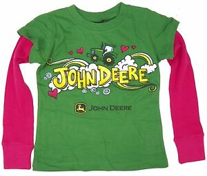 John Deere Shirt Girls Tractors Hearts Layered Tee Ebay