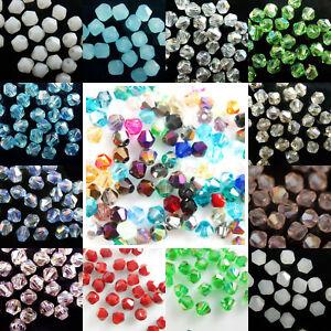 Großhandel 200pcs 4mm Facettierten Kristall Glas Bicone Losen Spacer Perlen C