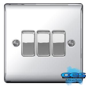 BG Nexus NPC43 Polished//Mirror Chrome Triple Light Switch 3 Gang 2 Way