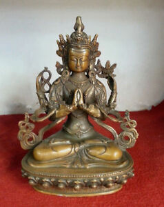 21 cm * / The collection!Old Chinese antiques dynasty bronze figure of Buddha