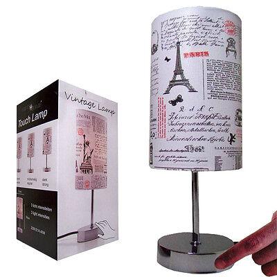 2x VINTAGE Touchlampe Dimmer Tischleuchte Schlafzimmer Nachttischlampe dimmbar