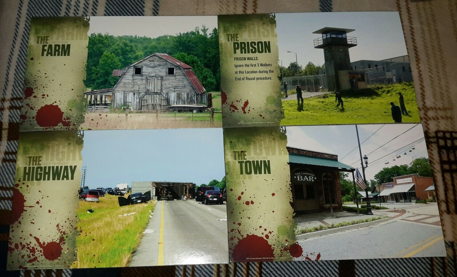 The Walking Dead Best Defense Board Game Replacement 4 Oversized Location Tiles