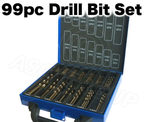 99 Pièce Drill Bit Set in Metal case-HSS Titane TIN revêtement Twist Drill
