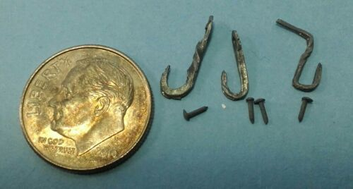 Dollhouse Miniature set Small Hooks Harmony Forge Handcrafted Wrought Iron 1:12