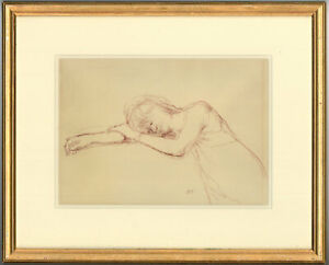 Bernard-Dunstan-RA-RWA-1920-2017-Signed-and-Framed-Pastel-Woman-Resting